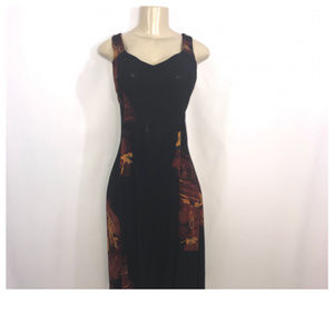 Campur Black, Red, and Yellow Maxi Dress XL